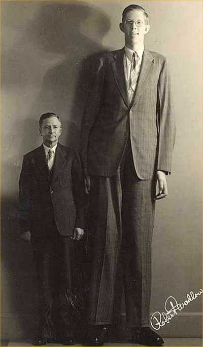 Giant next to small person